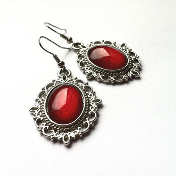 RUBY RED CAMEO Earrings - Hand Painted Vintage Cameo Dangle Earrings - Retro style silver tone dangle earrings - Gift for her