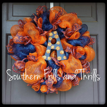 Auburn Wreath, Auburn Deco Mesh Wreath, Deco Mesh Wreath, War Eagle, AU, Auburn University, Wreath, College Wreath, Auburn Door Hanger