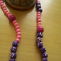 Pink & Funked Up  Ethnic Wood Beaded Necklace  by JirjiMirji