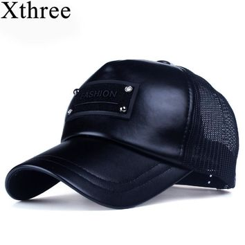 Trendy Winter Jacket Xthree 5 panels fashion men  faux leather baseball cap women summer mesh cap snapback hat for girl bone gorras AT_92_12