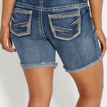 plus size Kaylee bermuda shorts with destruction | maurices