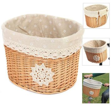 32cm x 26cm x23cm Wicker Bicycle Bike Basket Light Brown Cycling Front Basket Shopping Bag Bicycle Accessories