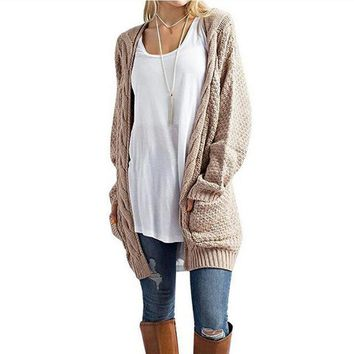 Reagan Long Cable Knit Pocketed Sweater