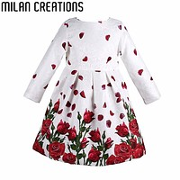 Costumes Princess Dress Girl Christmas Dress Long Sleeve 2016 Autumn Winter Kids Clothes Rose Floral Children Dress for Girls