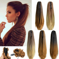 "20"" Fashion Ombre Long Straight Claw On Ponytail Synthetic Hair Pony Tail Hair Extensions Tress Of False Hair"