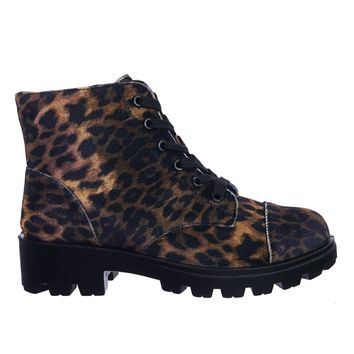 Tread14 Faux Fur Lined Lightweight Threaded Lug Sole Lace Up Combat Work Bootie