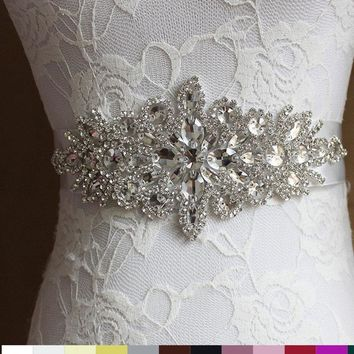 2018 Women Wedding Sash Elegant Rhinestone Satin Ribbon Bridal Belts Party Bride Bridesmaid Belt Dress Cummerbunds Waistband