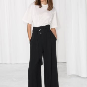 & Other Stories | Belted Wide Trousers | Black