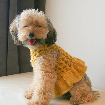Yellow Dog Dress| Poodle dress | Yellow dog vest | Pet Clothing | Hand Knit Dog Clothes by BubaDog