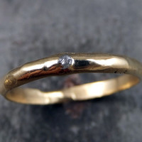 Raw Rough Uncut Diamond Wedding Band 14k Gold Wedding Ring by Angeline