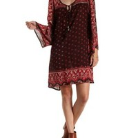 Brown Combo Boho Print Shift Dress by Charlotte Russe