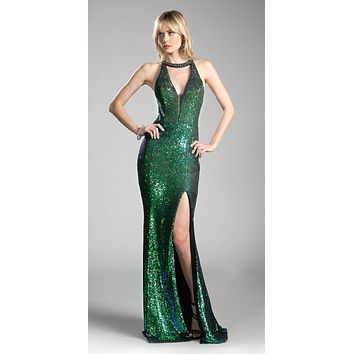 Cut-Out Back Sequins Long Prom Dress with Slit Multi-Green