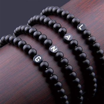 Matte Natural Stone DIY 26 Bead Letters Bracelets for Women Men Fashion Jewelry Name Friendship Lucky Bracelet Kids Family Gift