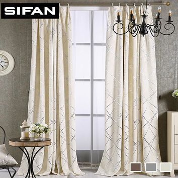 Geometric Jacquard Pattern Chenille Modern Curtains