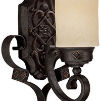 "0-007718>9""w River Crest 1-Light Sconce Rustic Iron"