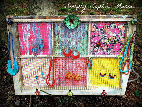 Jewelry Display - Organizer - Window Jewelry Holder -Vintage Distressed Window with Chicken Wire - Accessories and Picture Holder