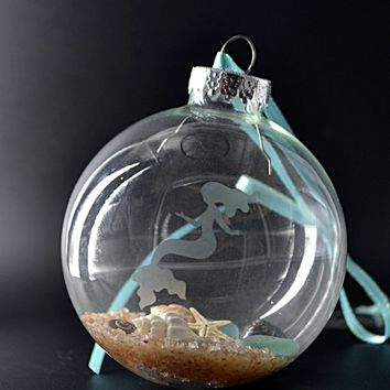 Mermaid Seashell Christmas Ornament, Beach Lovers Gift, Mermaid Gifts, Beach Christmas Ornament