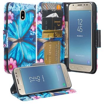 Samsung Galaxy J7 (2018) Case, Galaxy J7 (2018) Wallet Case, Wrist Strap Pu Leather Wallet Case [Kickstand] with ID & Credit Card Slots - Blue Butterfly