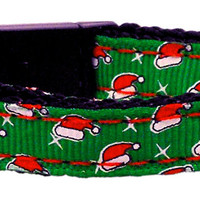 Santa Hat Nylon and Ribbon Collars . Cat Safety
