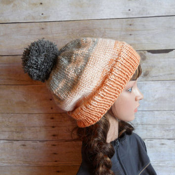 Just Peachy, Coral Pom Pom Beanie with Shades of Peach fading into Gray, Snowboard Beanie, Ski Hat, Peach Handknit Hat, Gray Slouchy Beanie