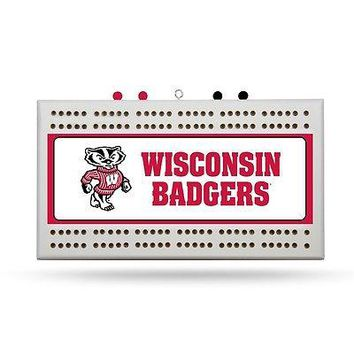 University of Wisconsin Bucky Badger Cribbage Board FREE US SHIPPING