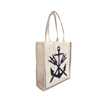Anchor & Tridents: 100% Cotton Color Stripe Tote Bag with Heavy Woven Handles