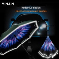 Creative Reverse Umbrella Double Layer Inverted Umbrella Rain Women Self Stand Windproof C-hook Car parasol Women Men Gift FX62