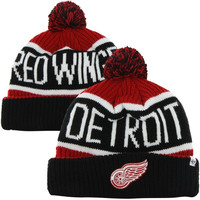 47 Brand Detroit Red Wings Calgary Cuffed Knit Beanie with Pom - Black/Red