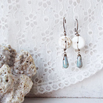 Natural white magnesite dangle earrings, wire wrapped oxidized brass jewelry, stone discs, earthy brown veins, mint green czech glass drops