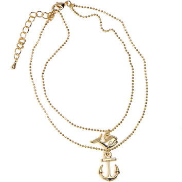 Gold Electro Plated Seafaring Whale and Nautical Anchor Ankle Bracelet