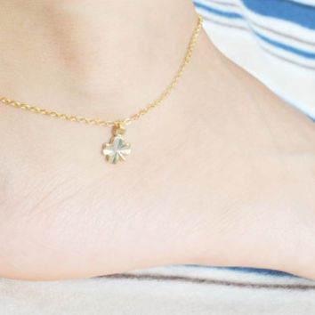 F-006 Clover anklet, Lucky leaf, Four leaf, Pendant, Charm anklet, Simple, Modern anklet, Gold plated/Everyday jewelry/