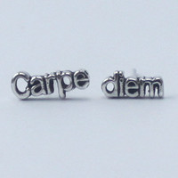 Carpe diem Earrings 'seize the day' , 925 Sterling silver, poetic, inspirational word Earrings