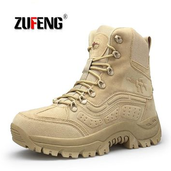 High-quality Hiking Shoes Men Special Forces Tactical Combat Army Boots Waterproof Anti-Slip Sneakers Breathable Trekking Shoes