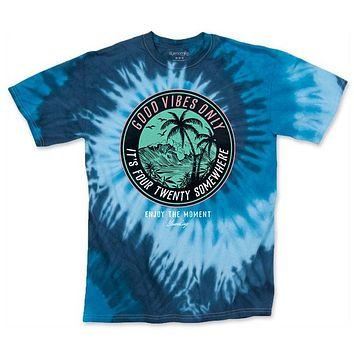 Men's Blue It's 420 Somewhere Tie Dye Tee