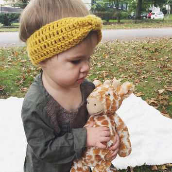 Baby/Toddler/Girl's Mustard Yellow Turban, Kid's Headbands, Children's Top Knot Headband, Girl Accessories, Trending Crochet Headbands