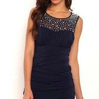 Short Homecoming Dress with Mesh Illusion Stone Neckline