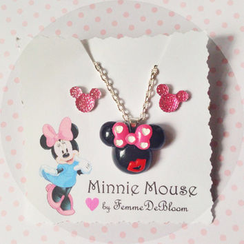 "Handmade ""Love and Kiss"" Minnie Mouse Necklace and Minnie Mouse Earrings Pink Disney Jewelry"