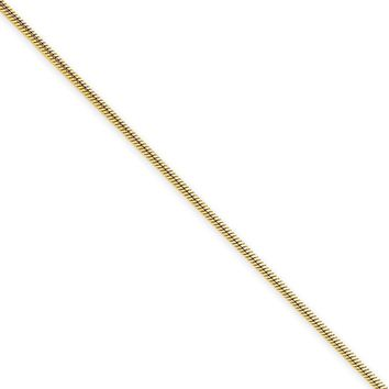 1.1mm, 14k Yellow Gold, Round Solid Snake Chain Necklace, 30 Inch