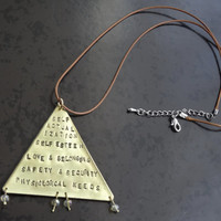 MASLOW'S PYRAMID NECKLACE - Psychology brass triangle pendant brown cord - Maslow hierarchy of needs geometric necklace - psychologist gift
