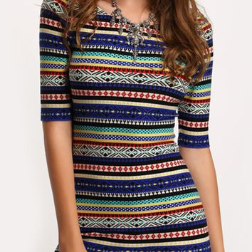 Striped Aztec Dress