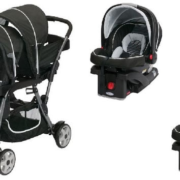 Graco Licorice Baby, Infant Double Twin Stroller Travel System with 2 Infant Car Seats