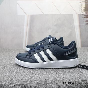 HCXX A894 Adidas V RACER TM Leather Fashion Casual Skate Shoes Navy Blue 1