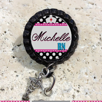 Personalized Retractable ID Bottlecap Badge Reel with Charm, badge ID Reel, Nurse Badge Reel, Office Badge Reel, Nurse Hat Charm