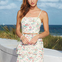 Tiered Floral Belted Dress