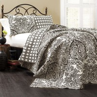 Lush Decor Aubree 3-pc. Reversible Quilt Set - King