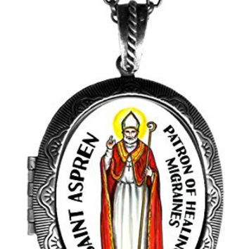 "St Aspren Patron of Healing Migraines Huge 2 1/2"" Solid Perfume Locket Pendant Antique Silver"