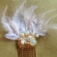 Bridal Feather Fascinator, Bridal Hair Comb, Bead Embroidered Hair Comb, Party Hair Comb, Vintage Style, Gatsby, White and Gold, Headpiece