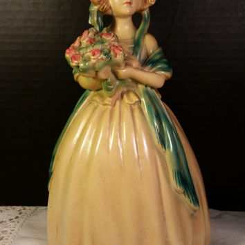 Roman Art Co.~ Robia Ware Beautiful Girl with Bonnet & Flowers Figurine/Statue Chalkware Figurine Handpainted Young Lady with Bouquet