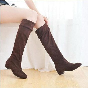 CREYUG3 Fashion Women Spring Boots Over Knee High Long Boots Black Brown Flat Suede Shoes = 1946088964