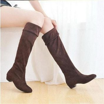 PEAPIX3 Fashion Women Spring Boots Over Knee High Long Boots Black Brown Flat Suede Shoes = 1946088964